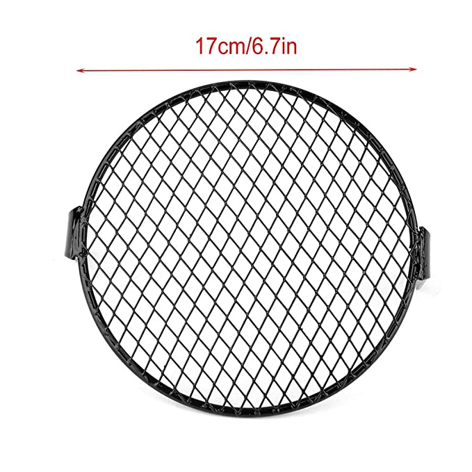 Akozon Headlight Grill Cover 5.75 inch Motorcycle Headlight Grill Round Cover Grid Mask Black
