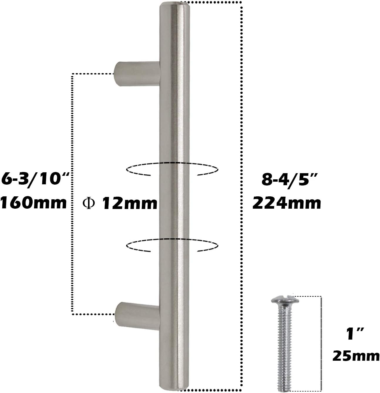 30Pack Gobrico Single T bar 50mm//2in Drawer Pull Handle Knob For Furniture Dresser Cupboard Hardware Satin Nickle