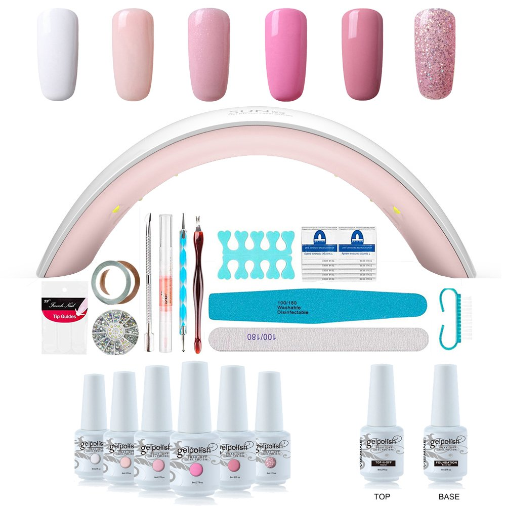 Gel Nail Polish Starter Kit 6 Colors Gel Polish Set Base Top Coat 36w Led Nail Dryer Lamp With Full Diy Gel Manicure Nail Tools By Vishine 8ml
