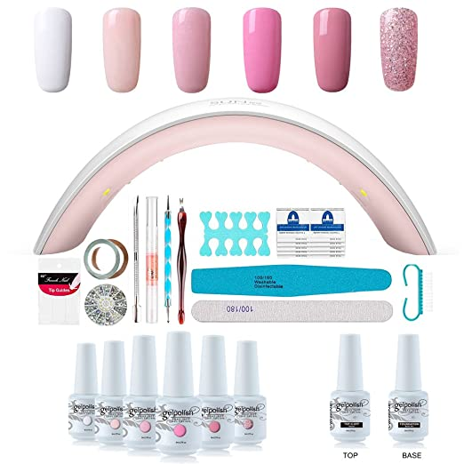 Gel Nail Polish Starter Kit - 6 Colors Gel Polish Set Base Top Coat, 36W LED Nail Dryer Lamp with Full DIY Gel Manicure Nail Tools by Vishine 8ml #C003 best gel manicure kit