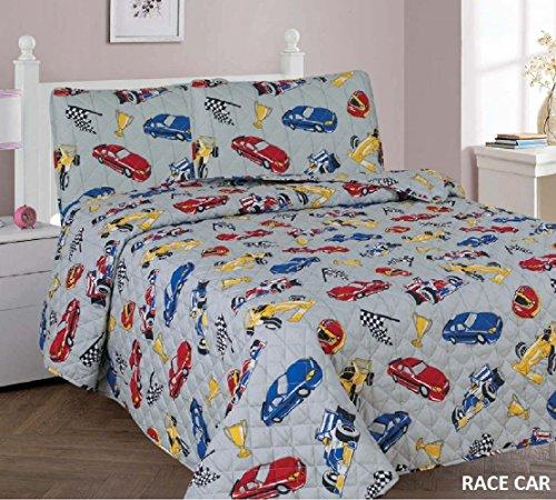 3 Piece Kids Printed Bedspread Set new Shark/Dinosaur/Cars design coverlet/quilt sets FULL size bedding (Race Car)