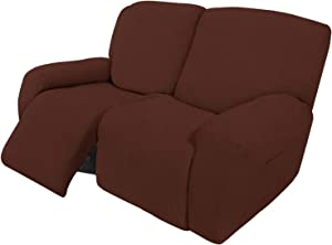 Easy-Going 6 Pieces Recliner Loveseat Stretch Sofa Slipcover Sofa Cover Furniture Protector Couch Soft with Elastic Bottom Kids, Spandex Jacquard Fabric Small Checks Coffee