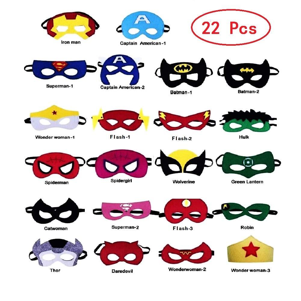 Uxinhu Superhero Masks, Superhero Party Masks Halloween Christmas Costumes Masks for Kids Party Supplies Favors 22 Pieces