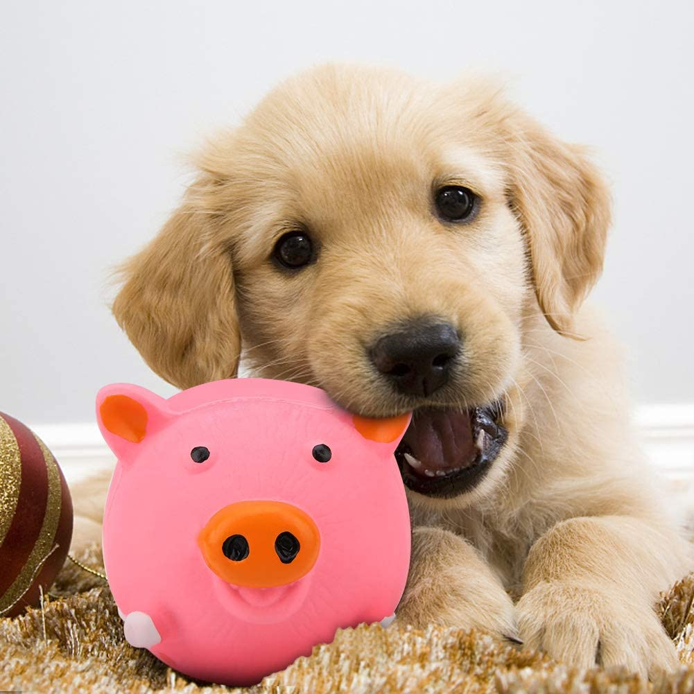 Dog Squeak Toy Cute Pig Latex Sound Chewing Toy Dog Puppy Teeth Clean Chew Bite Toy Pet Teeth Cleaning Dental Teaser Pet Interactive Playing Toys