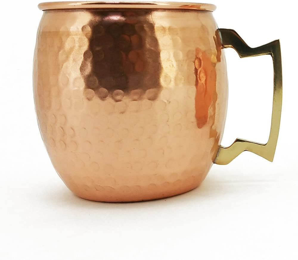 Hammered Copper Moscow Mule Mug Handmade of 100% Pure Copper, Brass Handle Hammered Moscow Mule Mug / Cup 16 Ounce,set Of-2, by CGP