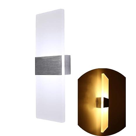 Topmo-plus 12W Lampada da parete a LED applique ideale per Camera da letto,  soggiorno, scale e saloni / 290 mm/ lampada led corridoio in acrilico / ...