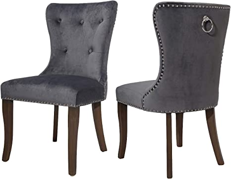 Amazon Com Cozywell Dining Chair Set Of 2 Grey Velvet Tufted Dining Chair Upholstered Accent Chair Button Tufted Parson Armless Chair With Nailhead Trim And Back Ring Pull Velvet Grey Chairs