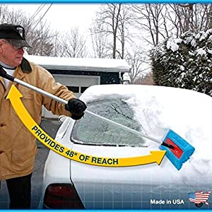 "SnoBrum Original Snow Removal Tool with 27"" to 46"" Compact Telescoping Handle- Remove snow from vehicles, awnings, pool/hot tub covers and more without Scratching (3 Pack)"