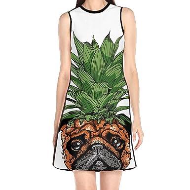 Hakalala Girls Dress Mini Dress Cute Funny Pineapple Pug Womens