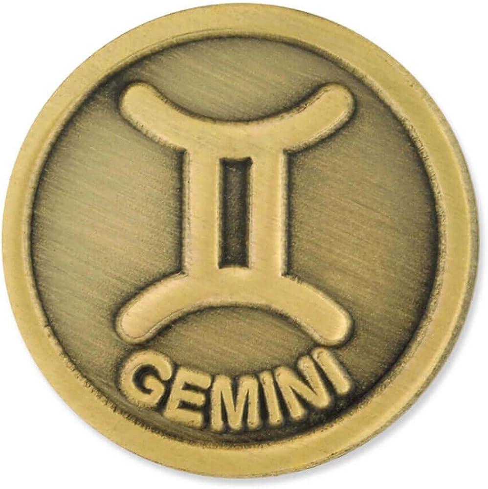 PinMart Antique Ranking TOP8 Gold Gemini Zodiac Symbol Twins Lapel Special sale item Pin