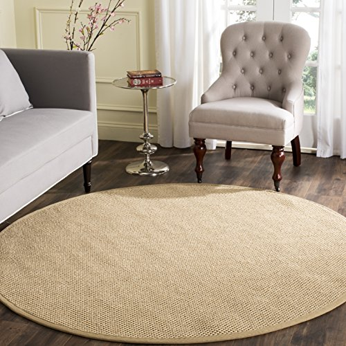 Safavieh Natural Fiber Collection NF141B Tiger Paw Weave Maize and Linen Sisal Round Area Rug (10' Diameter)
