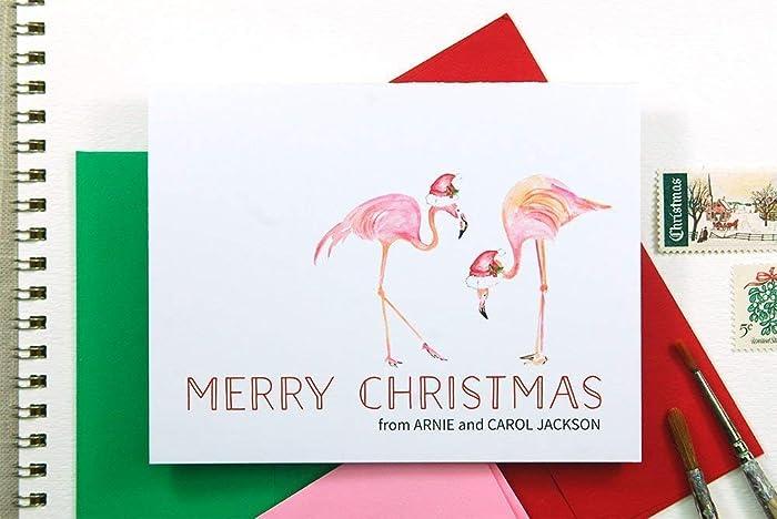 Flamingo Christmas Cards.Amazon Com Tropical Christmas Cards Flamingo Personalized