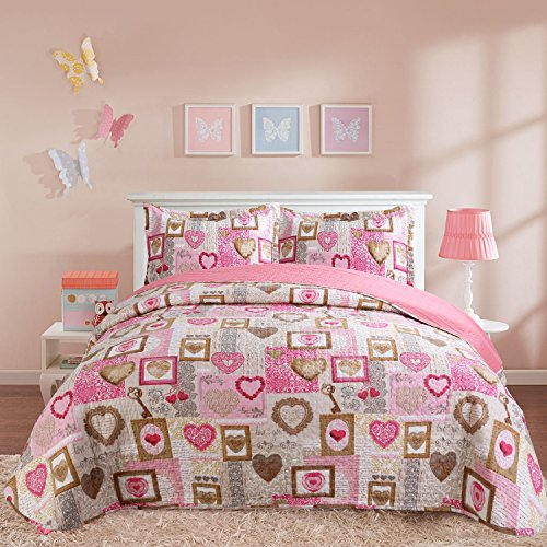 Hilin Fashion Microfiber Reversible Printing Quilt set Twin size with Shams,as Bedspread,Coverlet or Bed Cover-Soft,Lightweight and Hypoallergenic (Loving Heart Pattern, 68x88) (Quilts Countryside)