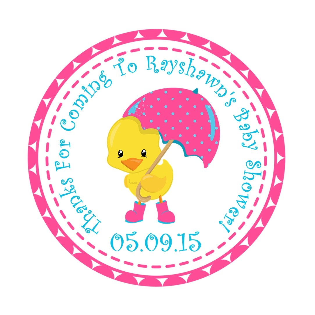 Girls Yellow Duck Baby Shower Favor Stickers
