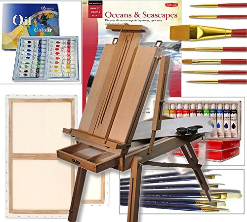 Artist French Easel, Paints, Stretched Canvases, Brush Sets, Art Supplies for Acrylic Oil Painting by Online Art Supplies