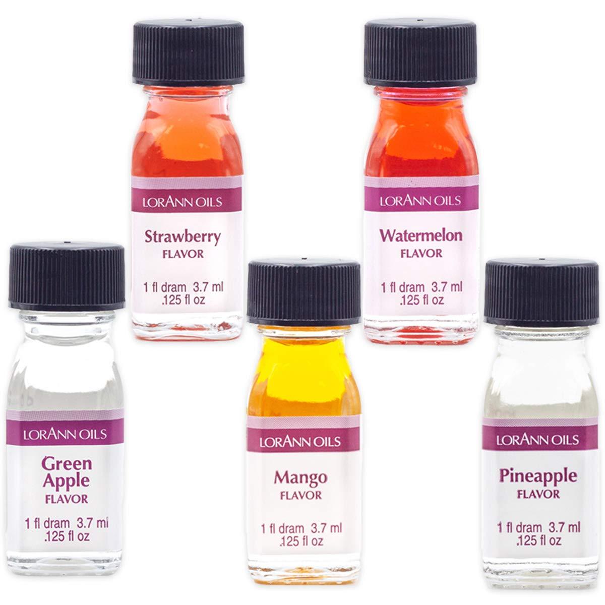 Lorann Super Strength flavors in 1 dram bottles (.0125 fl oz - 3.7ml) - 5 Pack - Includes Green Apple, Mango, Pineappl, Strawberry and Watermelon