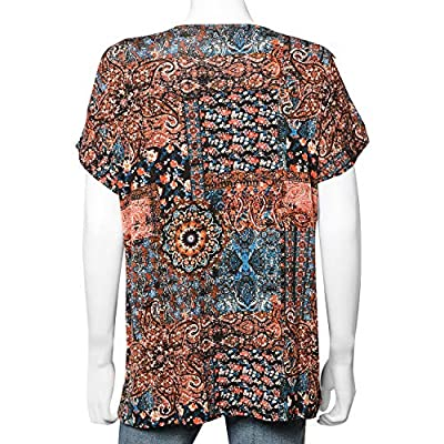 Multi Color 95% Rayon and 5% Spandex Top Trendy and Comfortable for Spring-Summer Days (Size M)