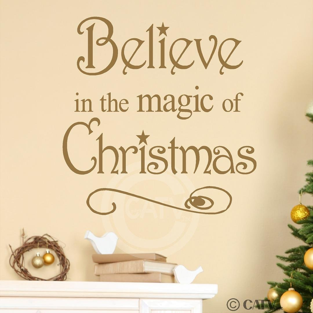 Amazon.com: Believe in the magic of christmas vinyl lettering wall ...