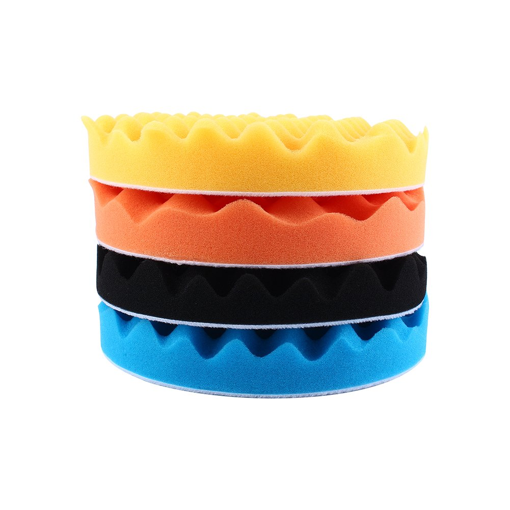 7'' Car Buffing Pads Polishing Sponge Pads Kit for Car Sanding Polisher Buffer Wash Cleaning 4pcs Set by Yosoo (Image #2)