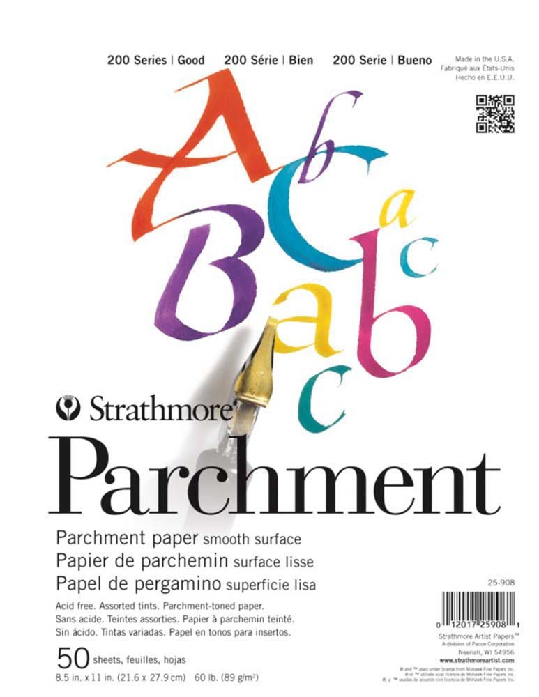 Strathmore 25-908 200 Series Parchment, Asst. Tints, 8.5x11 Tape Bound, 50 Sheets