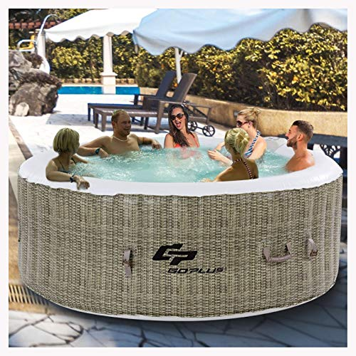 (K&A Company 6 Person Inflatable Hot Tub Outdoor Massage Spa, Coffee)