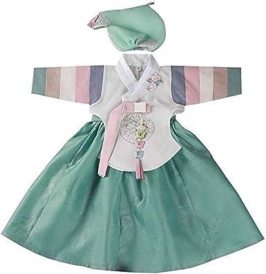 Amazon.com: Falda verde marfil para niña Hanbok, vestido de ...