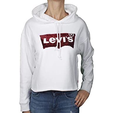 produits de qualité 50-70% de réduction gamme exclusive Levis Sweat Levis 56350 Graphic raw Cut Hoodie Blanc