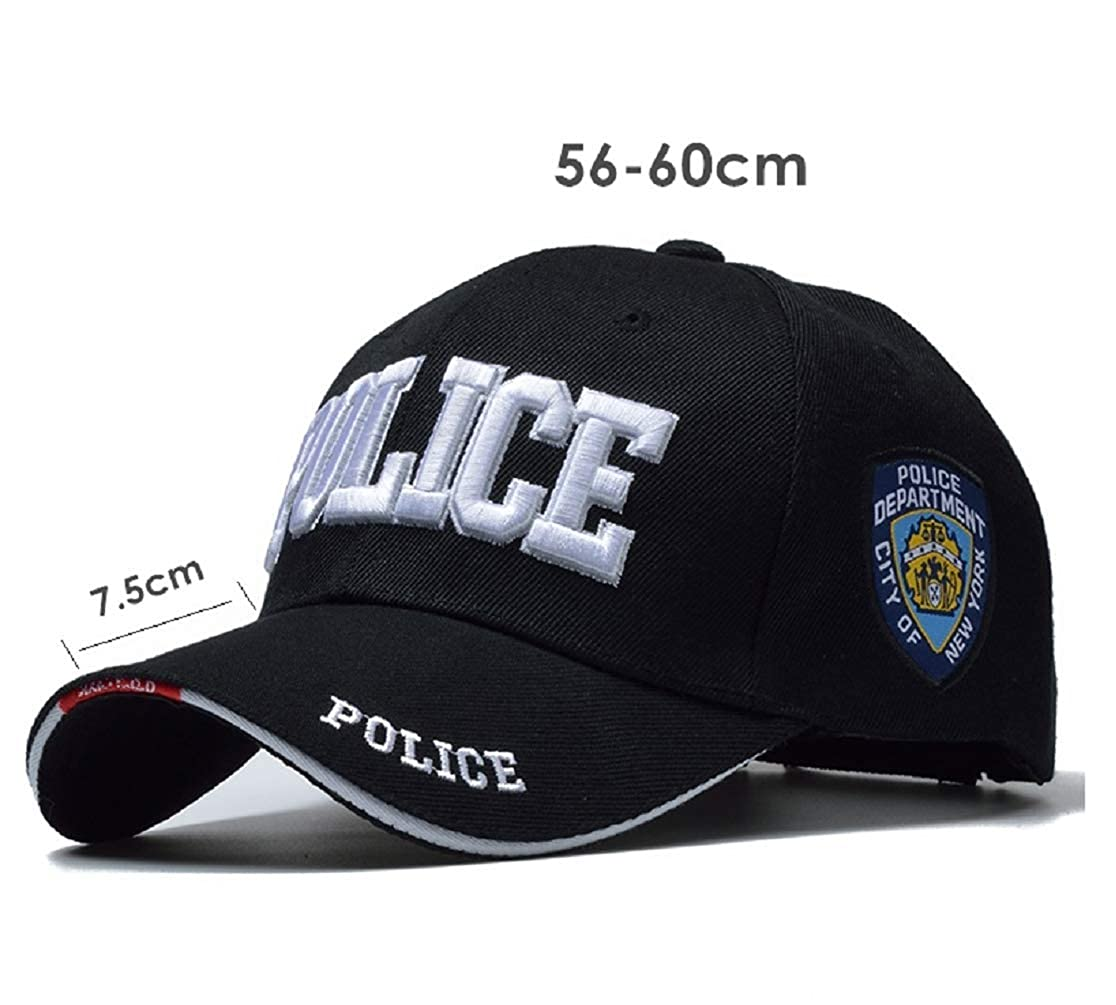 ecdb784055391 Amazon.com  Police Cap for Patrol Work Law Enforcement Any Officer Embroidered  Baseball Cap New York City Police Department Adjustable Black  Clothing