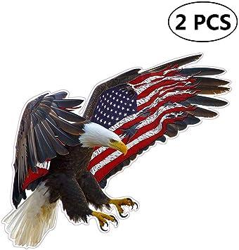 1x Graphics Bald Eagle American Flag Car Bumper Laptop Truck Vinyl Sticker-Decal