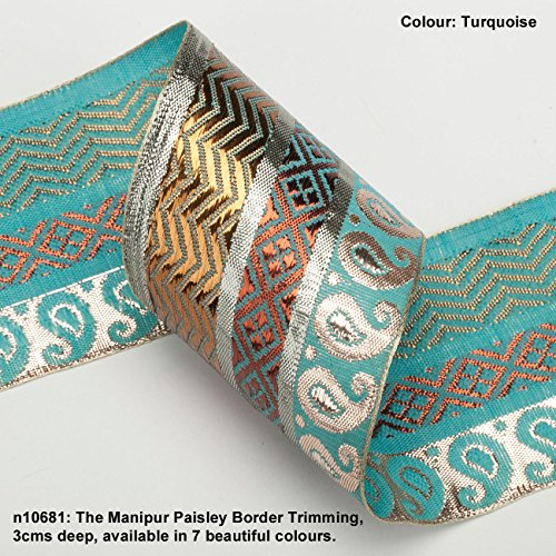 (Neotrims Bollywood Costume Paisley Ribbon with Antique Metallic Gold, Silver and Copper Thread, set against a contracts Bright Rayon Paisley Background ; a spectacular effect Trimming in a Broad 70mm (7cms) Deep Size. Traditional 9 meters Reel for Sari Border. Also for Salwar Kameez, For Crafts and Home Interior Décor. 7 amazing colour options for all tastes and moods! Buy by the 1 meter or 1 reel of 9 meters Sari length. Bargain Price for 1 Reel!)