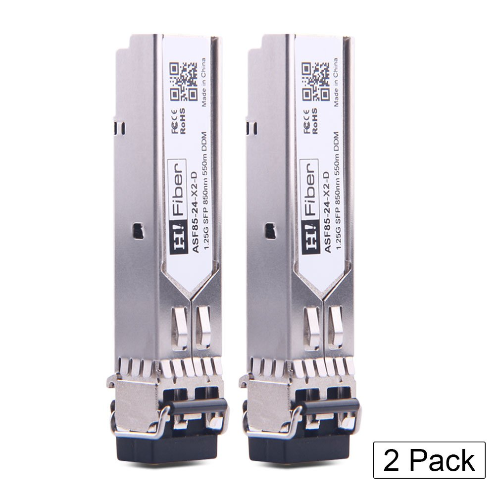 SFP Transceiver Multimode Gigabit Mini-GBIC Module 1000Base-SX Compatible Ubiquiti UF-MM-1G (MMF, 850nm, 550m, Dual LC,DOM), 2 Pack by H!Fiber.com
