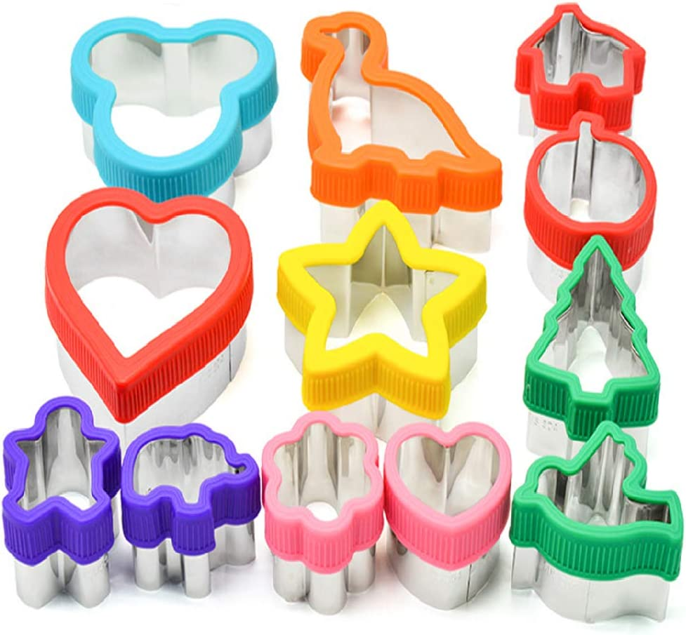 Cofe-BY Sandwich Cutters for Kids 12pcs/set, Dinosaur Star Heart Mickey Snowman Xmas Tree Shaped Christmas Cutters for Cookie Sandwich Fruit Decoration Food Grade 304 Stainless Steel Cartoon Mold Kits