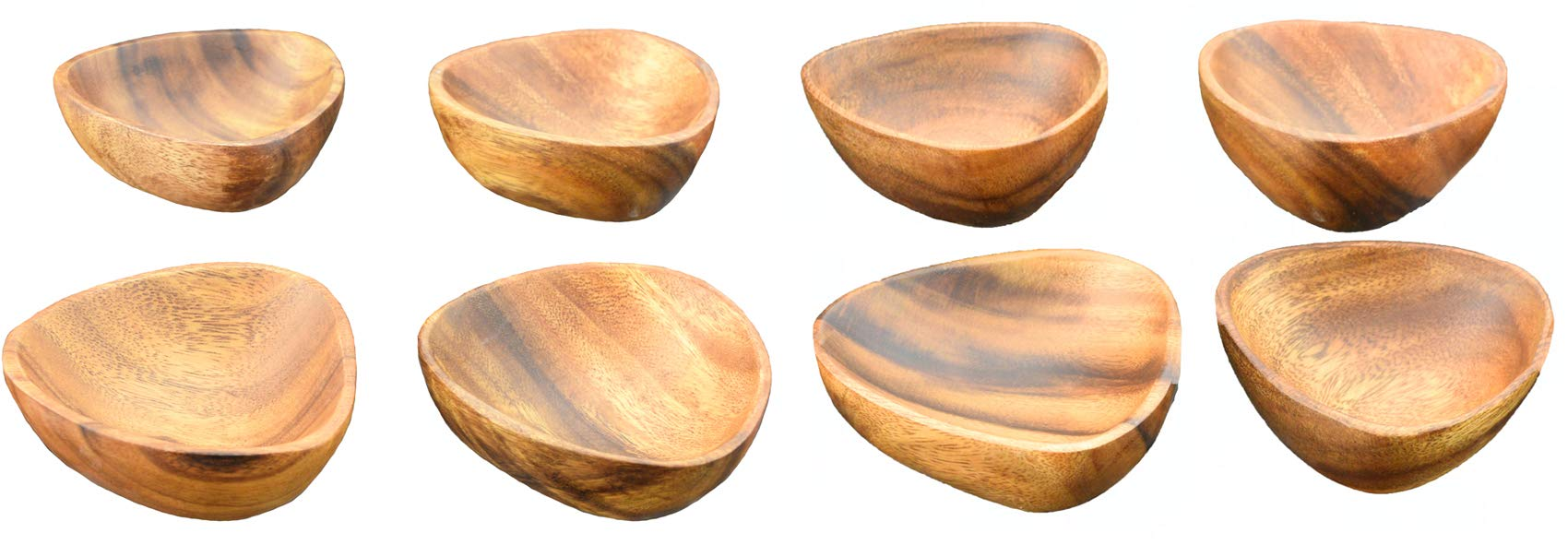 Acaciaware Acacia Wood 3-Sided Dip and Nut Bowls, 6-inch by 3-inch, Set of 8