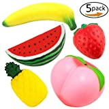 Slow Rising Jumbo Fruit Squishies 5 Pack, Cute Soft Squishy Toys Stress Relief Soft Toys (5 Pack Fruit) …