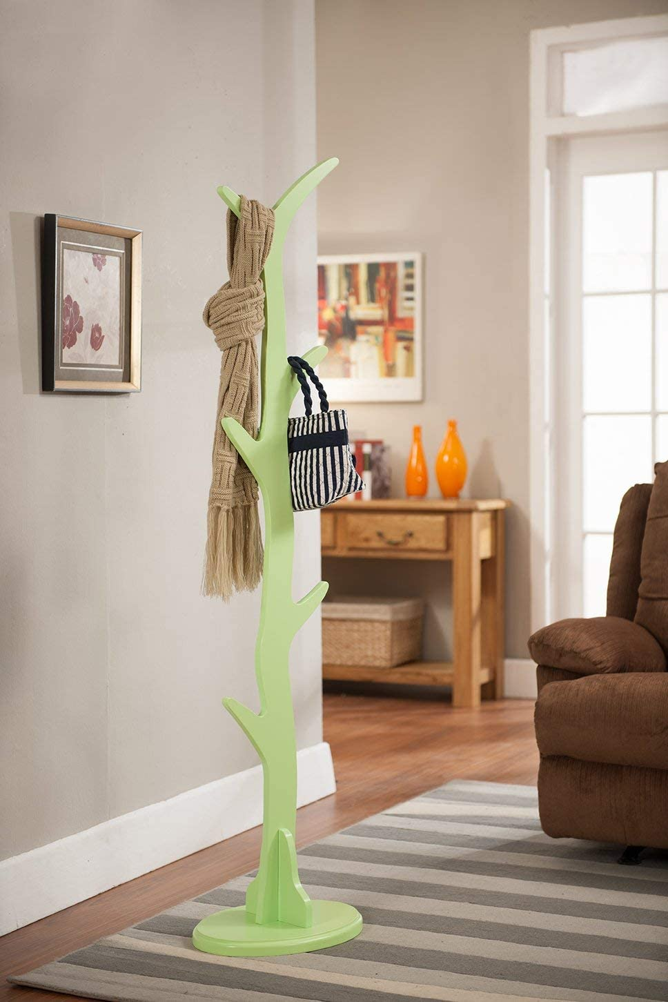 King s Brand Contemporary Tree Style Wood Coat and Hat Rack Stand, Mint Green