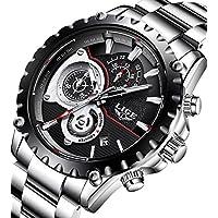 Mens Watches Full Steel Waterproof Sport Analog Quartz Watch Men Chronograph Business Black Wristwatch