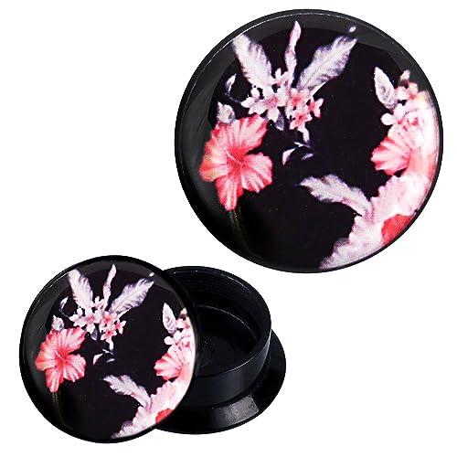 Plug beige rosa weiße Blumen schwarz Piercing Ohrschmuck