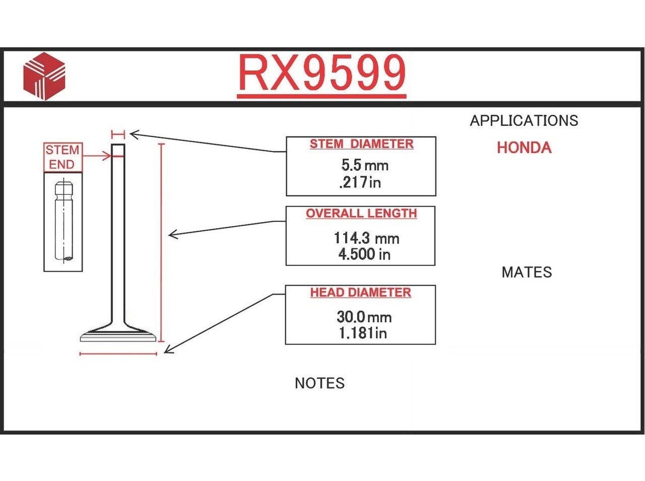 ITM Engine Components RX9599 Exhaust Valve