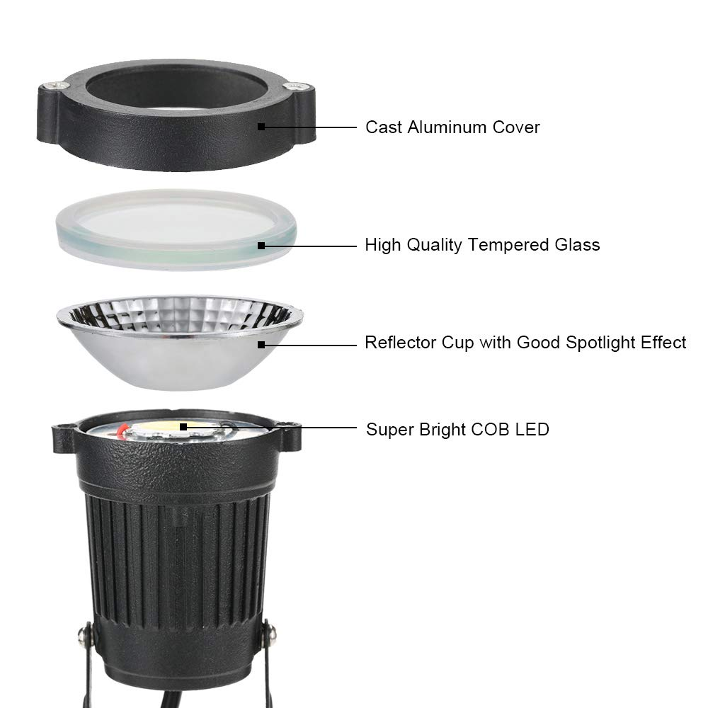 Festnight 3W COB LED Lawn Lamp with Base DC12-24V Outdoor Landscape Light Spot Light IP65 Water Resistance for Garden Patio Yard Courtyard Path White