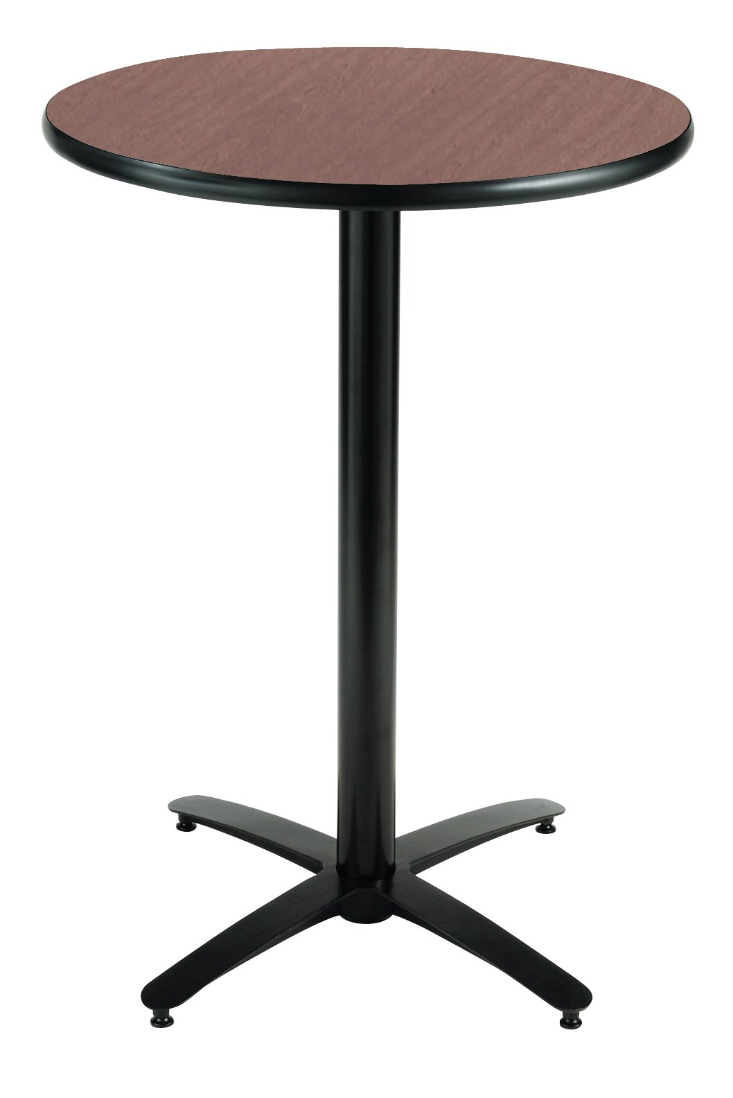 KFI Seating Round Bar Height Pedestal Table with Arched X Base, Commercial Grade, 42-Inch, Dark Mahogany Laminate, Made in the USA