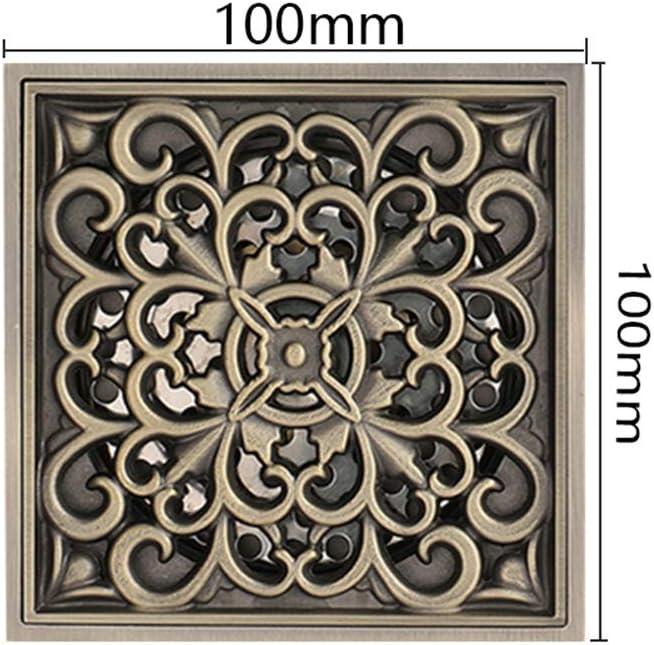 100/×100Mm GLYYR Antique Drain De Douche Caniveau pour Douche Syst/èmes De Drainage en Laiton Carr/é Drain De Douche pour La Cuisine Salle De Bains