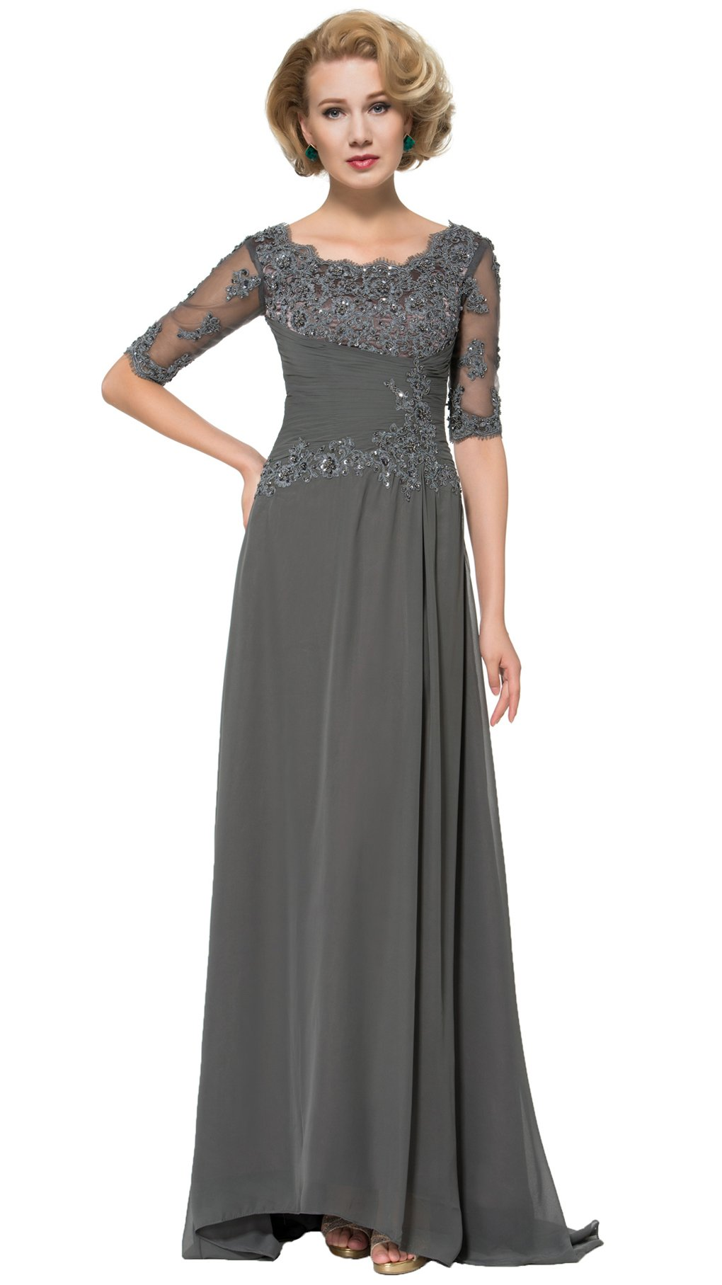 Snowskite Women's Elegant Empire Waist Half Sleeves Mother of the Bride Dress Grey 14