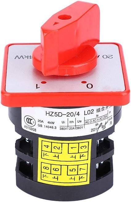 Interruptor de Cambio 20A 380V ~ 4KW HZ5-20/4 L02 Interruptor rotativo de 6 terminales Interruptor de cambio de combinación de rotación de leva de 2 posiciones