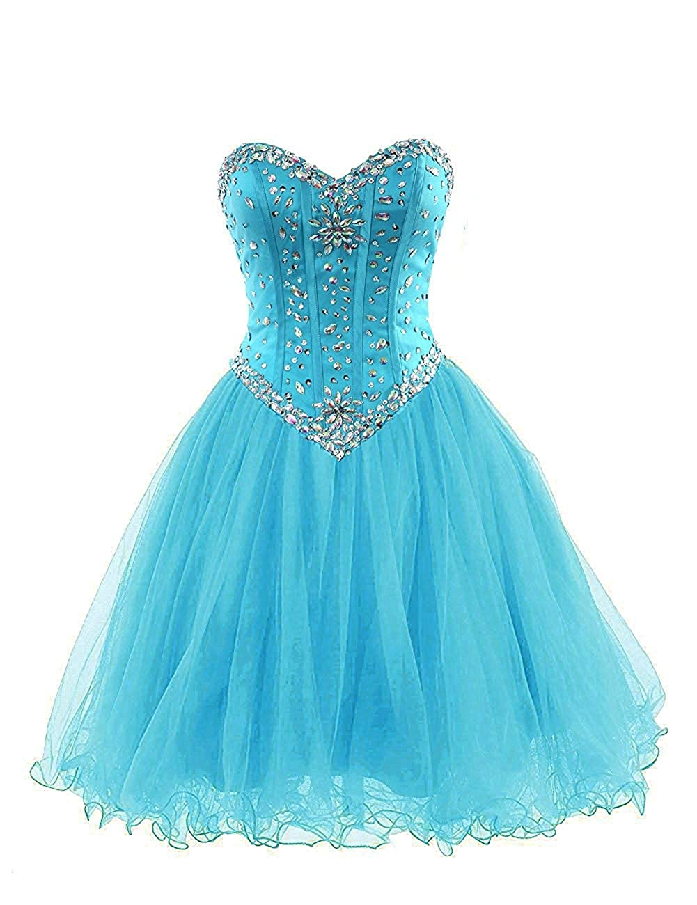 bluee Short Homecoming Dresses Tulle Sweetheart Prom Bridesmaid Dress Beaded Cocktail Prom Gowns