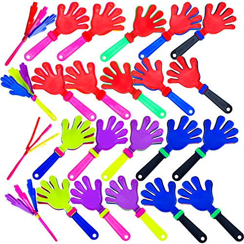 Resinta 24 Pieces Hand Clappers Plastic Noisemaker Noise Makers with Drawstring Bag for Fiesta Party Birthday Favors, 7.5 -