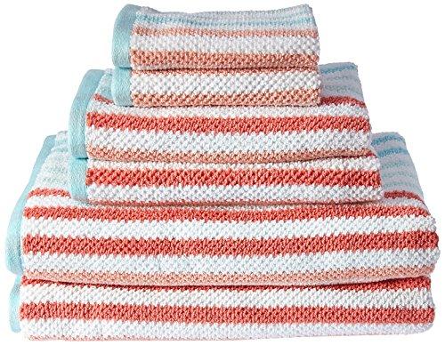(Caro Home 6PC-1464-T1-1003 Stripes Jay 6-Piece Cotton Bath Towel Set)