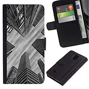 Samsung Galaxy Note 4 IV / SM-N910 Modelo colorido cuero carpeta tirón caso cubierta piel Holster Funda protección - City Architecture Nyc Boston White