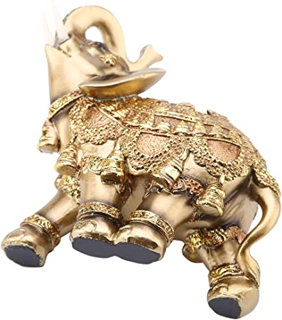 Feng Shui Large Goldfarben Sammlerst/ück Wal Front Geschenk f/ür Zuhause Statue Elefant aus Polyresin