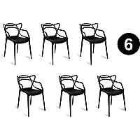 IBH DESIGN Lot 6 Chaises Miami – Noires – inspirée Masters