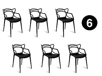 IBH DESIGN: MIAMI, juego de 6 sillas, diseño inspirado en la silla Masters de Starck, color negro